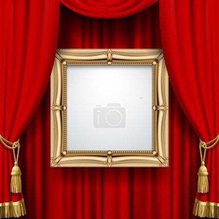 Illustration pour Cadre en or suspendu sur le fond du rideau rouge. Présentation carrée affiche artistique et pancarte. Illustration vectorielle - image libre de droit