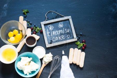 Photo for Tiramisu ingredients on a blackboard - Royalty Free Image