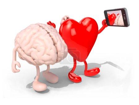 cerveau et le coeur prennent un autoportrait avec son téléphone intelligent
