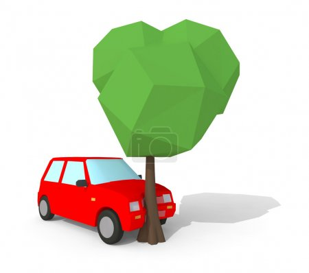 Photo for Red car crash with a big tree, low poly 3d illustration isolated on white background - Royalty Free Image