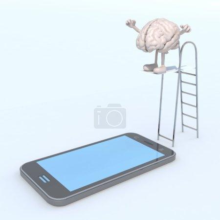 Photo pour Cerveau humain sur la piscine échelle qui plonge sur l'écran du téléphone mobile, illustration 3d - image libre de droit