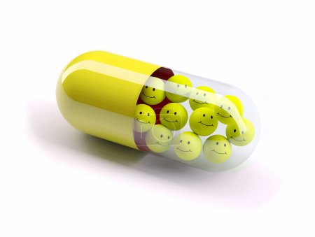 Photo for Red pill filled with yellow balls, isolated 3d illustration - Royalty Free Image