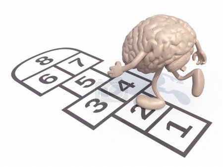 Human brain with arms and legs play hopscotch