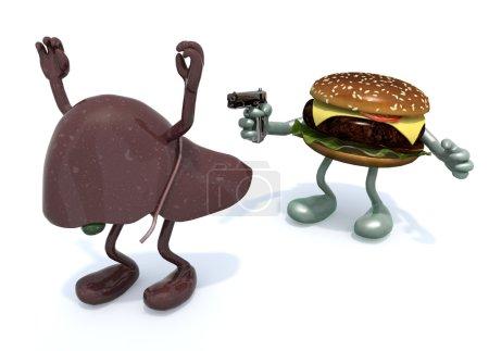 Photo pour Hamburger avec bras brandissant pistolet au foie humain, illustration 3d - image libre de droit