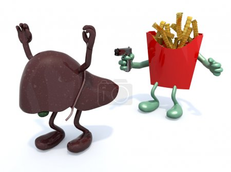 Photo for Potato chips with arms wielding gun to the human liver, 3d illustration - Royalty Free Image