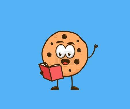 Cute cookies snack cartoon character reading book ...