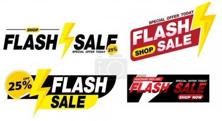 Illustration for Flash sale banner promotion tag design for marketing - Royalty Free Image