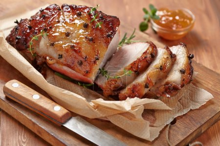 Photo for Baked meat with orange fruit jam and allspice - Royalty Free Image