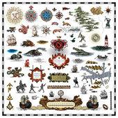 Antique map elements collection