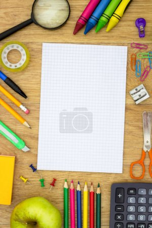 Back to school and supplies near empty paper