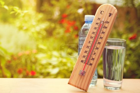 Thermometer on summer day showing near 45 degrees
