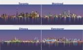 illustrations of urban canadian city skylines at night