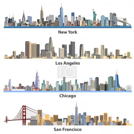 set of abstract United States urban city illustrations