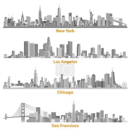 Photo pour Ensemble des villes urbaines de New York, Chicago, Los Angelews et San Francisco illustrations en échelles de gris - image libre de droit