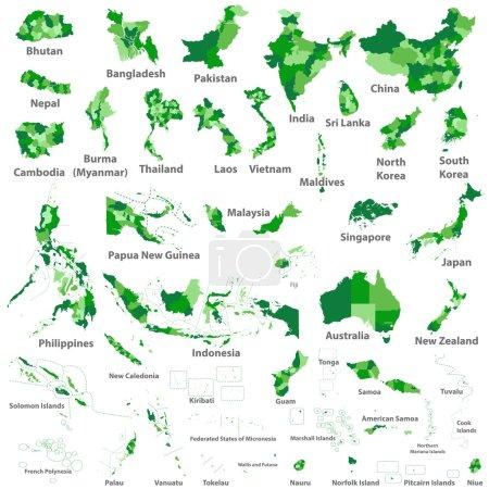 Asian, Australia and Oceania countries maps