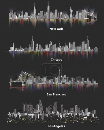 abstract illustrations of urban United States of America city skylines at night on soft dark background