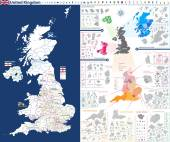 high-detailed administrative units map of United Kingdom All elements entitled and easy-to-use