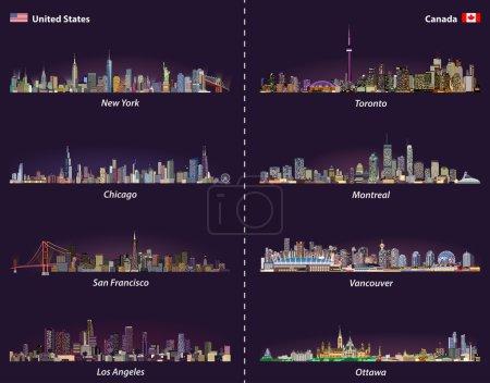 Photo pour Ensemble vectoriel de nuit des lignes aériennes des États-Unis et du Canada - image libre de droit