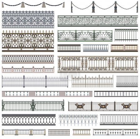 fence patterns and decorative design elements with seamless borders