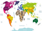 colored world map with country names