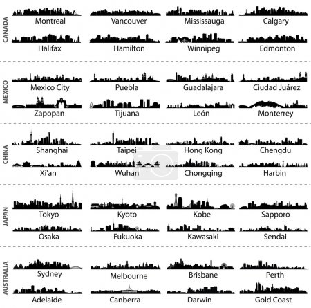 skylines of Canada, Mexico, China, Japan and Australia cities
