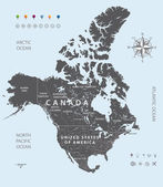 Vector black map of USA Canada and Mexico states