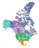colored map of USA Canada and Mexico states