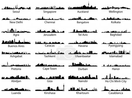 Illustration for Vector set of world city skylines - Royalty Free Image
