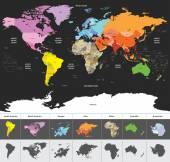 Politického světa mapa světa barevné podle kontinentů