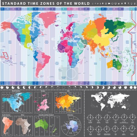 map of standard time zones of the world with continents separately and clocks with current local times in main world cities