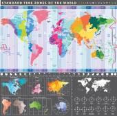 Mapa standardních zón světa s kontinenty odděleně a hodiny s aktuální místní čas v hlavních světových městech