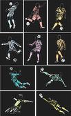 Fotbalové plakáty na měkké černé pozadí