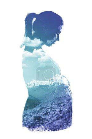 Transparent pregnant  woman portrait
