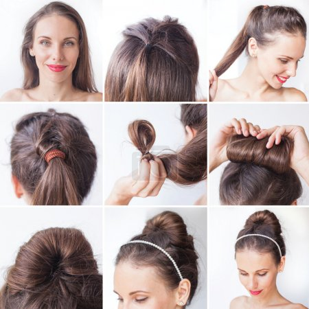 Photo for Young smiling woman doing beautiful hairstyle .Process step by step - Royalty Free Image