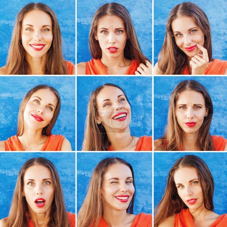 Photo for Beautiful woman emotions set on blue background - Royalty Free Image