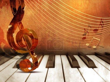 Photo pour Musique de fond avec les touches du piano et des notes de musique - image libre de droit