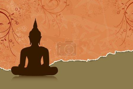 Illustration for Buddha silhouette against orange flower background - Royalty Free Image