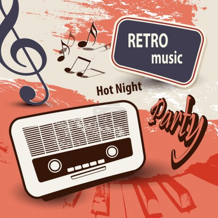 Music background with old radio and notes - retro party poster