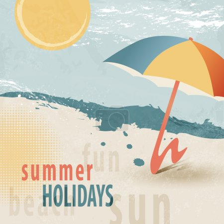 Summer holiday background - beach with sunshade - 50s retro style