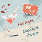 Retro party poster with cocktail glass