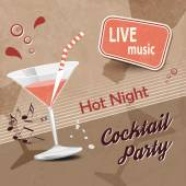 Retro cocktail party poster with brown background