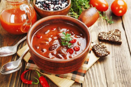 Photo for Chili soup with red beans and greens. Mexican cuisine - Royalty Free Image