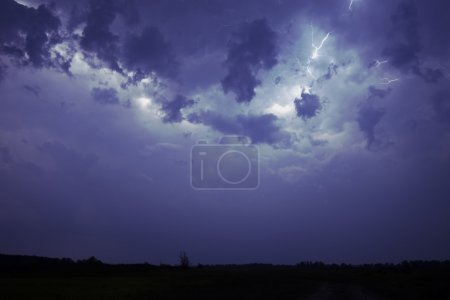 Lightning in a stormy night