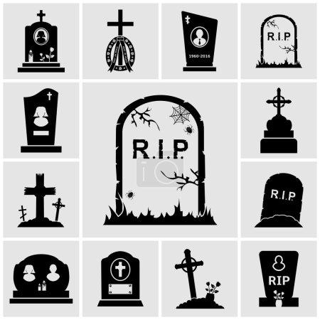 Cemetery crosses and gravestones icons set