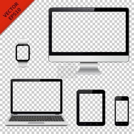 Illustration pour Moniteur d'ordinateur, ordinateur portable, tablette PC, téléphone portable et montre intelligente avec écran transparent. Isolé sur fond transparent. Illustration vectorielle . - image libre de droit