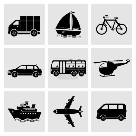 Illustration pour Ensemble d'icônes noires de transport - Vecteur - image libre de droit