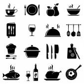 16 kitchen icons isolated on white background Vector illustration