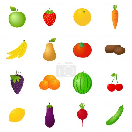 Vector fruits & vegetables icons set