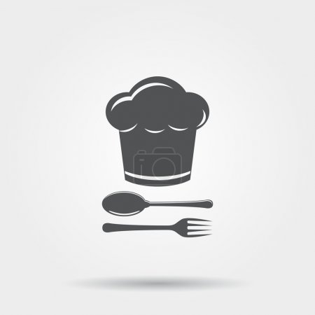 Chef hat with cutlery icon