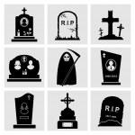 Gravestones and tombstones vector black icons...